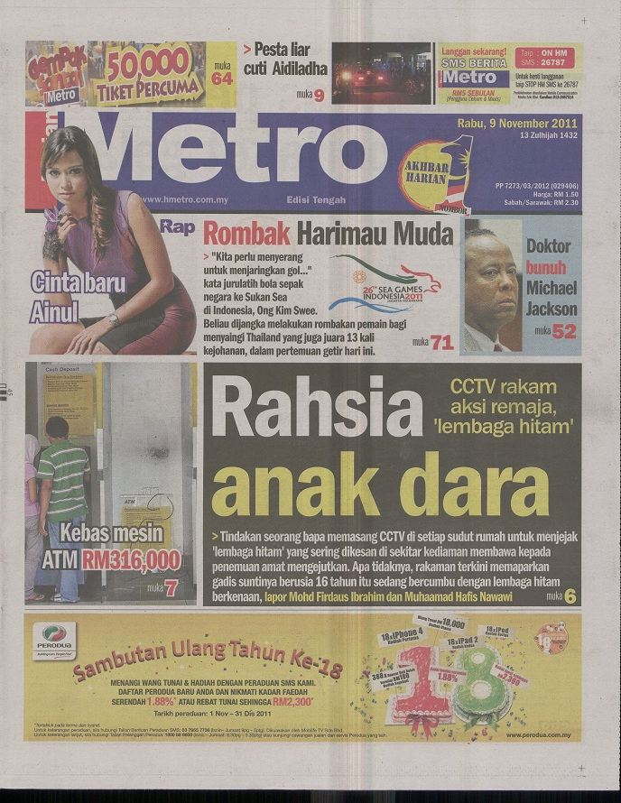 Harian Metro | Newspaper | adQrate - Biggest Online Store for Media ...